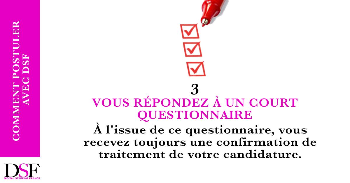DSF France Trouvez un emploi en 7 étapes répondre à un questionnaire